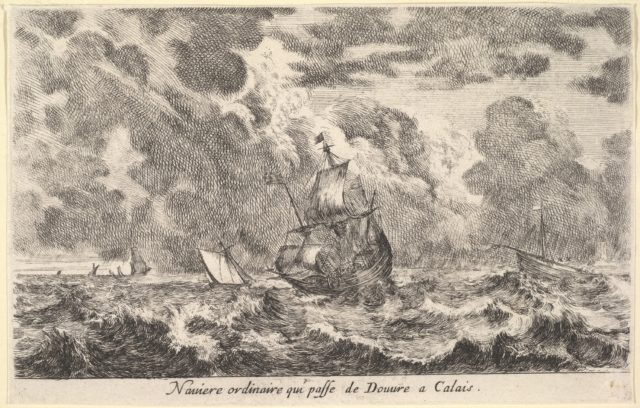 An ordinary ship travelling between Douvre and Calais (Naviere ordinaire qui passe de Douvre a Calais), ship in the sea at center, other boats to left and right, a ship to left in the background, from 'Views of seaports' (Vues de ports de mar)