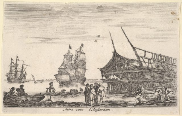 Another view of Amsterdam (Autre vue d'Amsterdam), a group of four men stand in center on a seashore, a boat being built to right, a rowboat on shore to left, two ships to left in the background, from 'Views of seaports' (Vues de ports de mar)