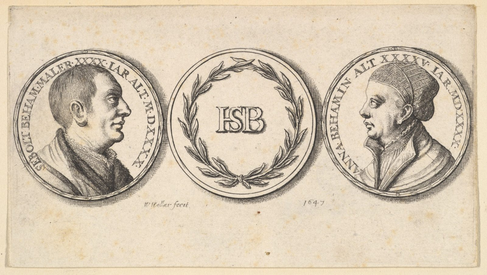 Medallions with portraits of Sebald Beham and Anna Beham
