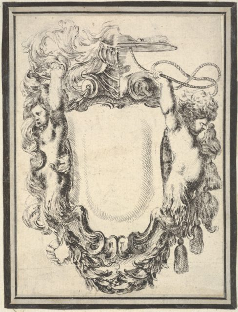 Plate 7: a cartouche flanked by two satyrs, crowned with half a herm and half a cardinal's hat, from 'Nouvelles inventions de Cartouches'