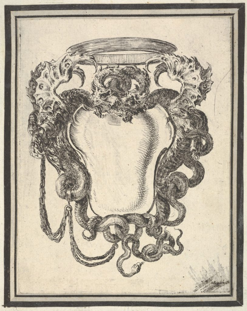 Plate 8: a cartouche flanked by dragons, their tails supporting a crown at top, from 'Nouvelles inventions de Cartouches'
