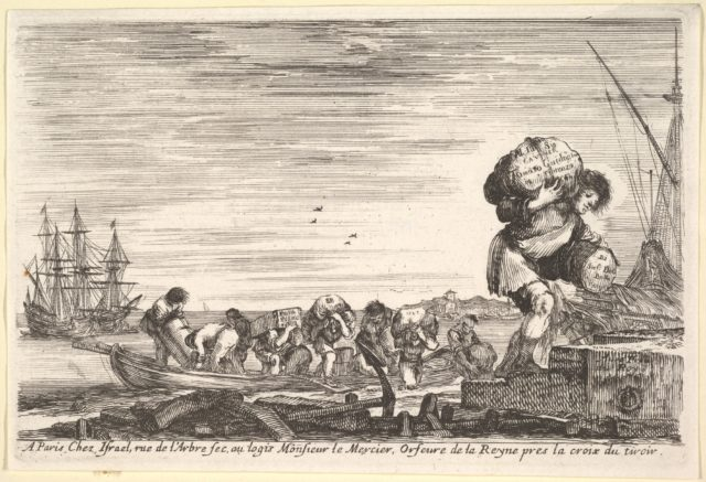 Title page: men carrying bags across a rowboat and onto shore in center, one man carrying two bags in right in the foreground, ships to left and right in the background, from 'Views of seaports' (Vues de ports de mar)