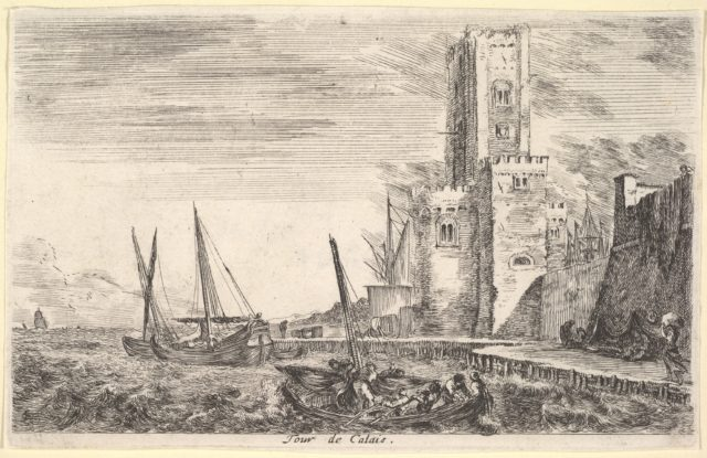 Tower of Calais (Tour de Calais), tower to right, two ships in the sea to left and in center, from 'Views of seaports' (Vues de ports de mar)