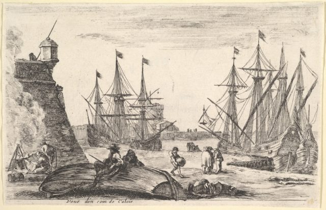 View of a part of Calais (Veue d'un coin de Calais), a man sitting on an overturned canoe on the pier in center, men cooking over a fire to left, various figures and two ships docked in the background, from 'Views of seaports' (Vues de ports de mar)