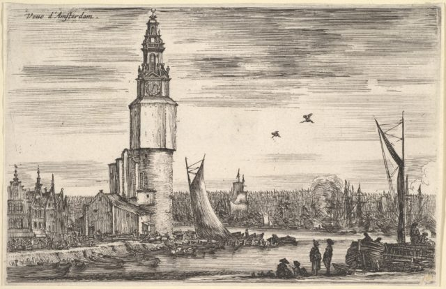 View of Amsterdam (Vue d'Amsterdam), a tower and houses to left, men standing on the pier to right, many ships in the port in the background, from 'Views of seaports' (Vues de ports de mar)