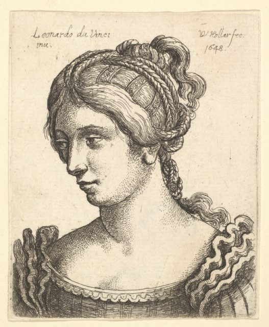 Bust of a woman looking downwards towards left with elaborately decorated hair