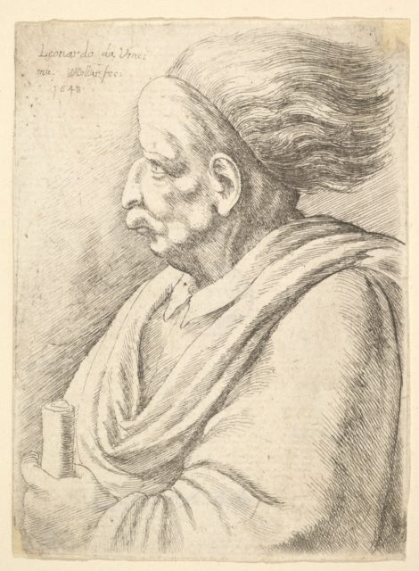 Man with caricatured features and hair streaming behind, in half-length to left