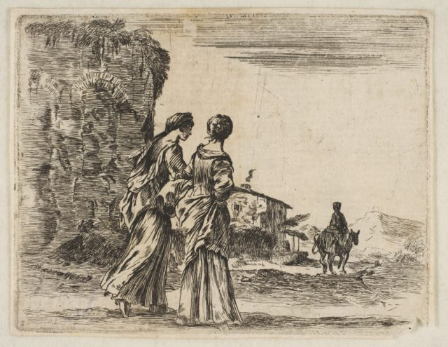 Plate 3: two girls walking towards the right, seen from behind, a woman on a horse to right in background, from 'Diversi capricci'