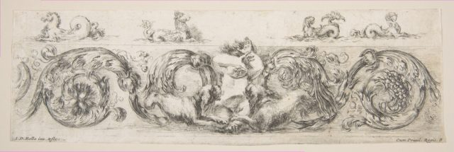 Rinceaux with Child Frightened by Dogs, Plate 8 from: 'Decorative friezes and foliage' (Ornamenti di fregi e fogliami)