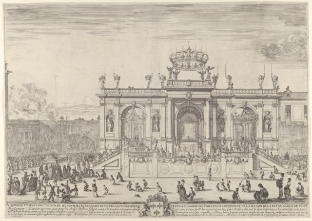 The altar of the holy sacrament; at left, the sacrament beneath a canopy, carried in procession and followed by the Louis XIV and Anne of Austria heading towards a largearched structure, spectators at left and right kneel in front of tapestries after Raphael
