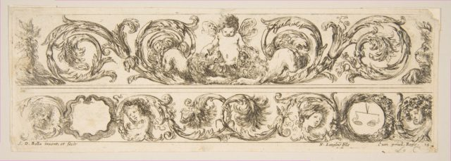 Two Acanthus Friezes: Cupid Subduing Two Lions; Heads of Four Seasons, Plate 14 from: 'Decorative friezes and foliage' (Ornamenti di fregi e fogliami)