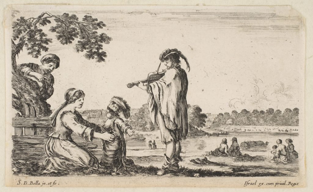 A man playing the violin in center, turned towards the left in profile, a seated woman to left playing with her dancing child, another woman standing and pointing behind a tree to left, seated women in a landscape to right in the background, from 'Various figures and lands' (Diverse figure e paesi)