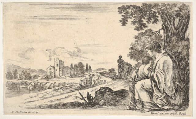 A peasant woman facing left in profile nurses a baby under a tree at right, a woman, seen from behind, walking next to a donkey in the middle ground, a church and bridge to left in background, from 'Various figures and lands' (Diverse figure e paesi)