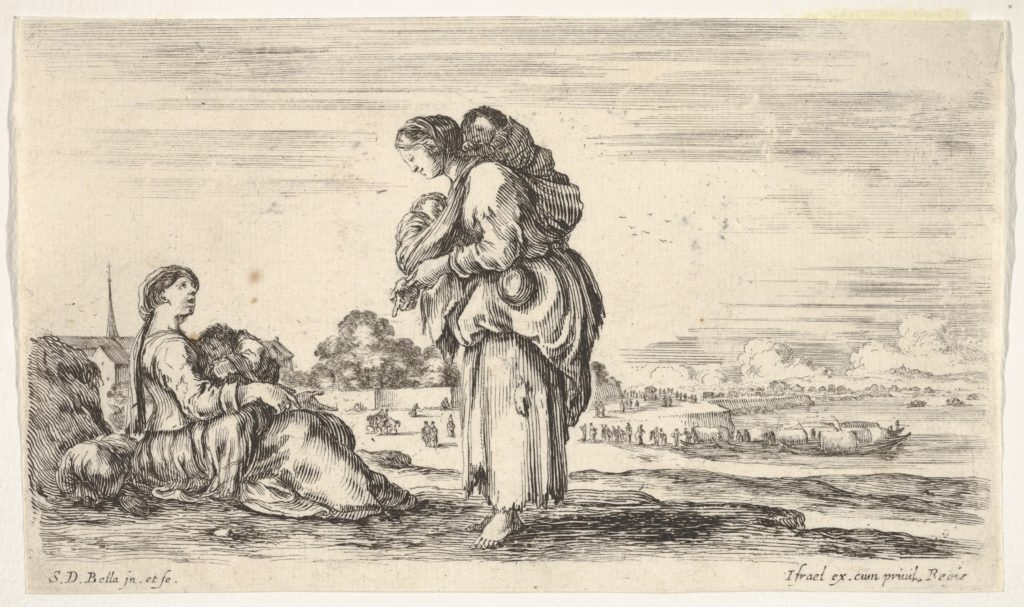 A woman seated to left holding a child, facing right in profile, conversing with a standing woman in center, carrying one child on her back and another in her arms, a church to left in background and boats to right in background, from 'Various figures and lands' (Diverse figure e paesi)
