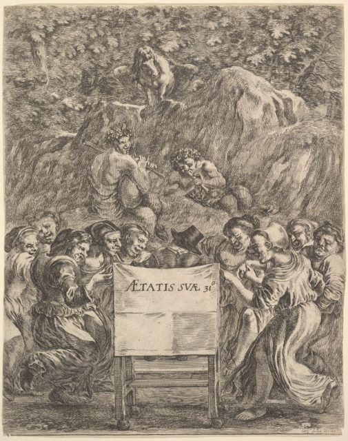 Frontispiece for 'The Works of Scarron' (Œuvres de Scarron); the poet sitting in a chair, seen from behind, women to either side representing caricatures of the nine muses, Pan, Bacchus, and Pegasus on a representation of Mt. Helicon above