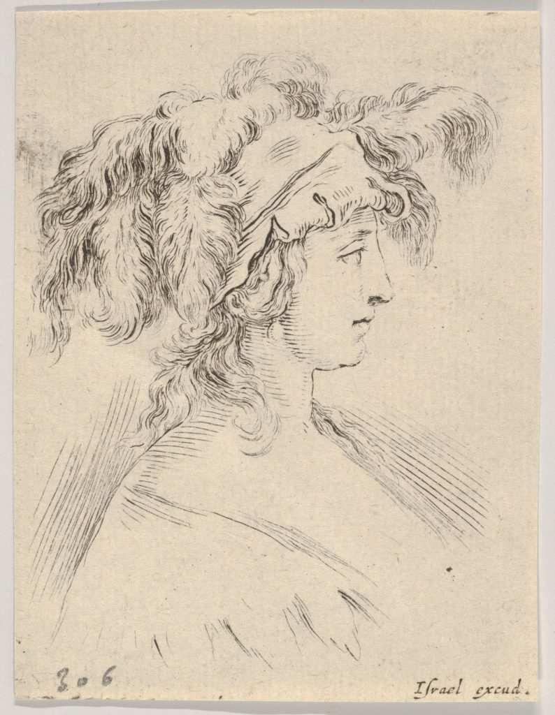 Plate 15: mid-bust of a young woman in profile wearing a hat topped with feathers, from 'The Book for Learning to Draw' (Livre pour apprendre à dessiner)