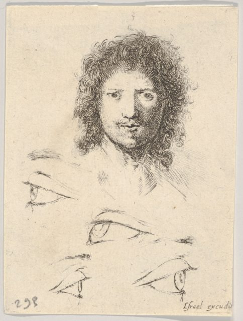 Plate 2: at top, the head of a young man, frontal view, at bottom, four eyes, from 'The Book for Learning to Draw' (Livre pour apprendre à dessiner)