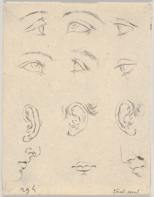 Plate 3: six eyes, three Ears, two Profiles, and a mouth, from 'The Book for Learning to Draw' (Livre pour apprendre à dessiner)