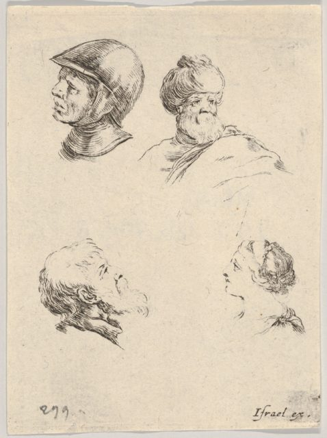 Plate 8: four small heads, a soldier at upper left, a Turk with a turban and beard at upper right, a bearded man in profile at bottom left, a young woman in profile at bottom right, from 'The Book for Learning to Draw' (Livre pour apprendre à dessiner)