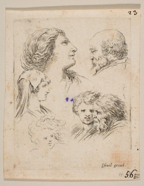 Plate 9: five heads, two young women at left, a bearded man at upper right, a young woman and a bearded man at bottom right, from 'The Book for Learning to Draw' (Livre pour apprendre à dessiner)