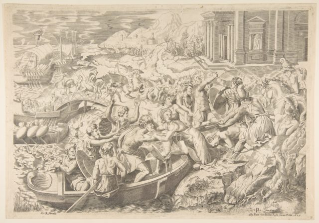 The abduction of Helen; battle scene on a shore with two men pulling Helen into a boat at center and another man pulling on her drapery in the opposite direction
