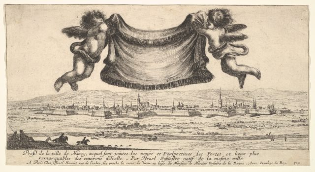 The villa at Nancy in the background, two putti holding a drapery at top center, from 'Various views of remarkable palaces in Italy and France' (Diverses vues d'endroits remarquables d'Italie et de France)