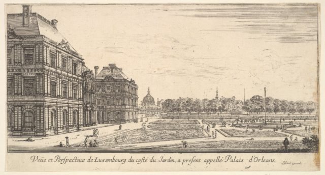 View of Luxembourg from the garden side of the Palais d'Orleans, from 'Various views of remarkable places in Italy and France' (Diverses vues d'endroits remarquables d'Italie et de France)