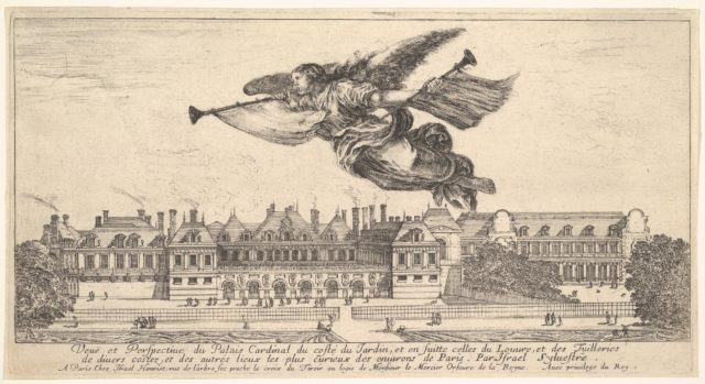 View of the Palais Cardinal, the figure of Fame at top center flying towards the left and playing the trumpet with another trumpet in her left hand, 'Various views of remarkable palaces in Italy and France' (Diverses vues d'endroits remarquables d'Italie et de France)