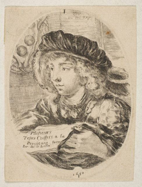 A bust of a young man wearing a cap with feathers, turned three-quarters to the left, the coat of arms of the Grand Duke of Tuscany in top left, title page from 'Several heads in the Persian style' (Plusieurs têtes coiffées à la persienne)