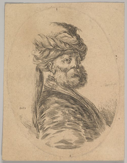 A Turkish man with a beard and turban with one long feather in front, turned three-quarters to the right, an oval composition, from 'Several heads in the Persian style' (Plusieurs têtes coiffées à la persienne)