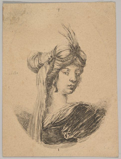 A woman wearing an ornate turban with a veil, seen from behind and turned three-quarters to the right, an oval composition, from 'Several heads in the Persian style' (Plusieurs têtes coiffées à la persienne)