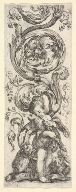 A young boy holding a young leopard in his arms, the mother leopard laying below, from 'Ornaments or Grotesques' (Ornamenti o Grottesche)