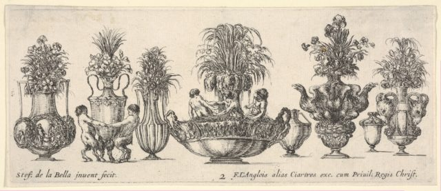 Eight vases, the largest one in the middle with three sculptures in the round of two nymphs and a triton, Plate 2 from: 'Collection of Various Vases' (Raccolta di Vasi Diversi)