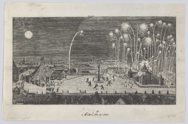 Fireworks display celebrating the end of the Thirty Years War, Nuremberg, 1650