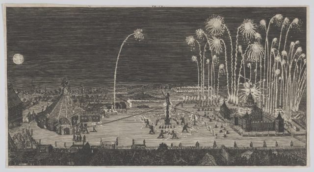 Fireworks display celebrating the end of the Thirty Years War, Nuremberg