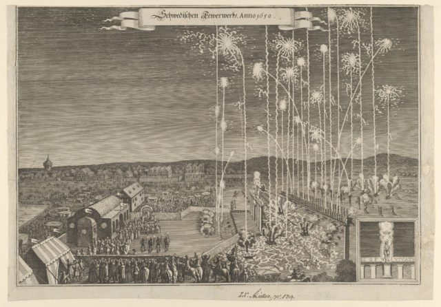 Fireworks given by the Swedish ambassadors to honor Karl Gustav, Count Palatine, executed by Johann Carl, Nuremberg 1650