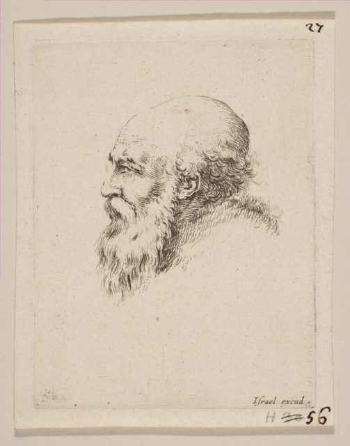 Head of a Bald and Bearded Old Man in Profile, from 'Various heads and figures' (Diverses tétes et figures)