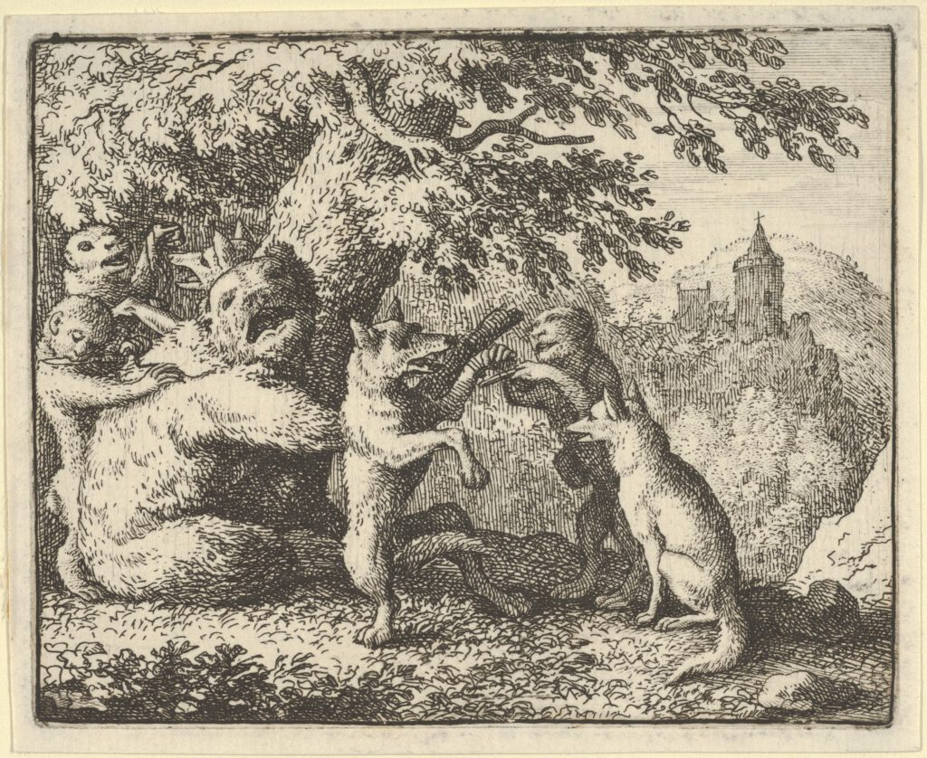 On Order of the Lion, a Piece of Skin is Taken from the Bear, A  Piece of the Front Paws of the Wolf and a Piece from the She-Wolf's Hind Paws are Skinned from Hendrick van Alcmar's Renard The Fox