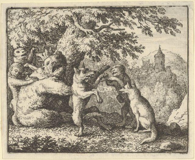 On Order of the Lion, a Piece of Skin is Taken from the Bear, A  Piece of the Front Paws of the Wolf and a Piece from the She-Wolf's Hind Paws are Skinned from Hendrick van Alcmar's Renard The Fox