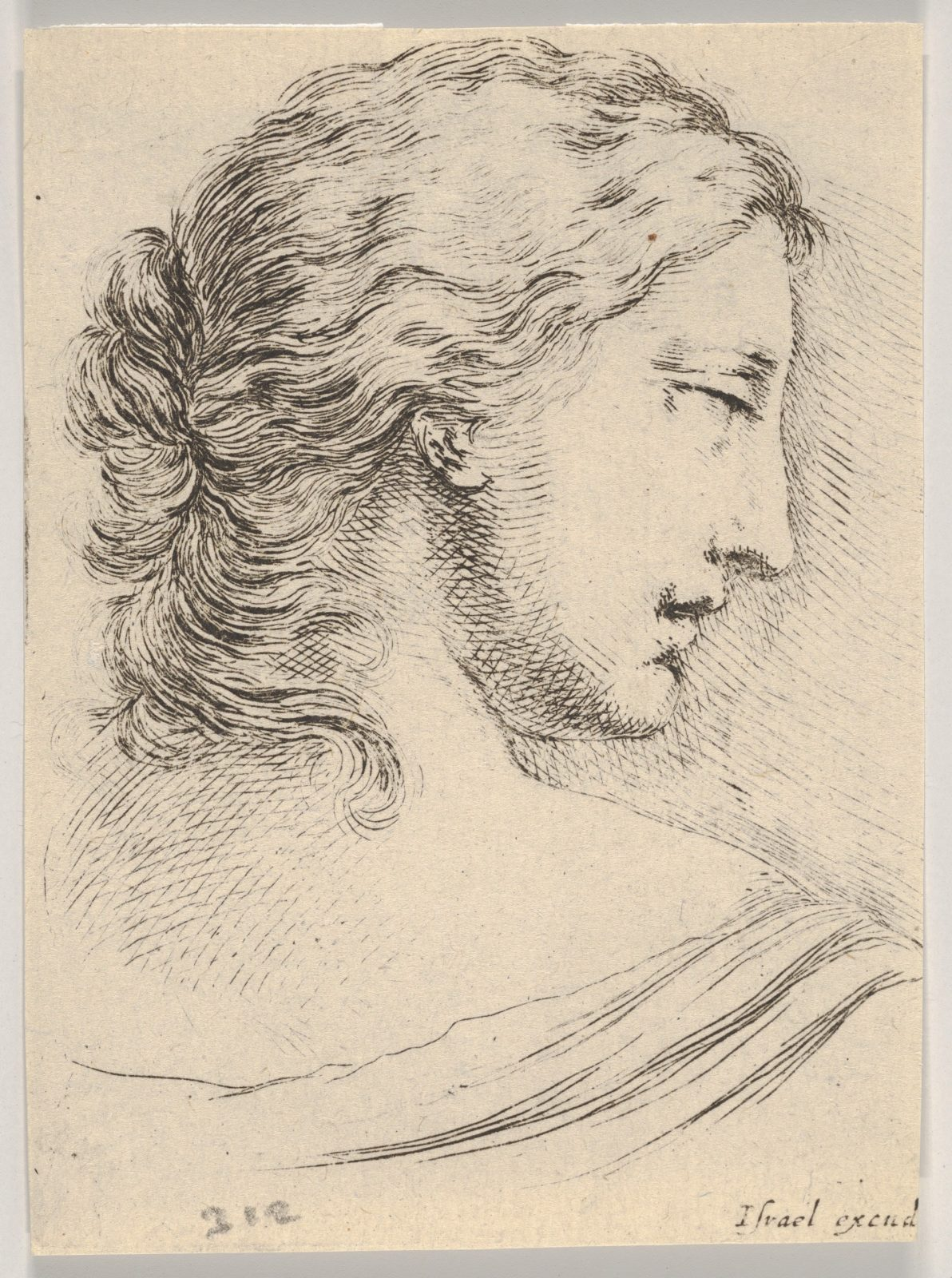 Plate 5: head of a woman, turned in profile to the right, from 'Various heads and figures' (Diverses têtes et figures)