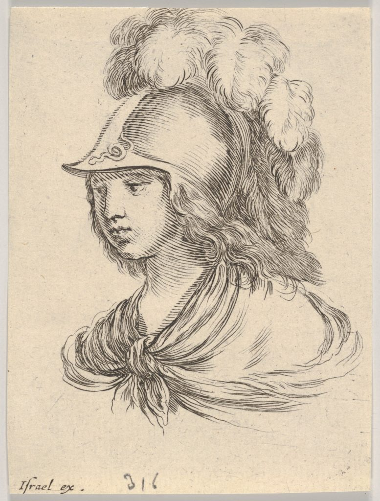 Plate 9: bust of Minerva, wearing a helmet with feathers, looking towards the left, from 'Various heads and figures' (Diverses têtes et figures)