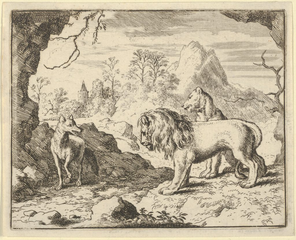 Renard Convinces the Lion and Lioness of Finding a Treasure His Father Stole from Them from Hendrick van Alcmar's Renard The Fox