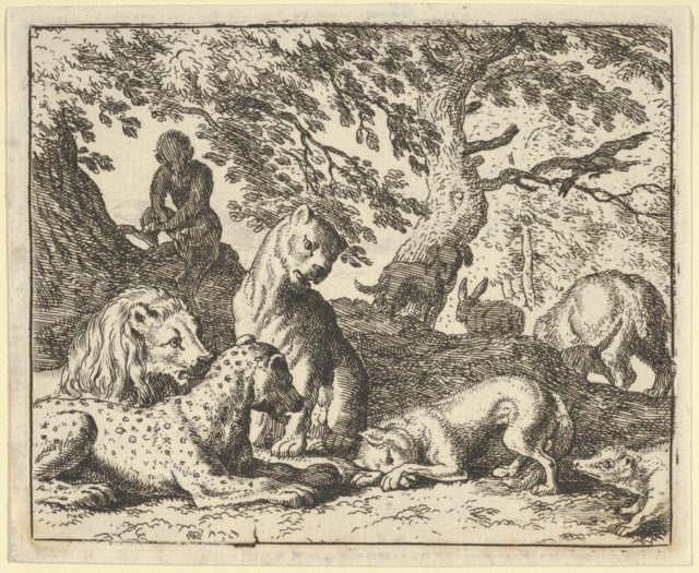 Renard Falsely Accuses His Father of Conspiring Against the Lion from Hendrick van Alcmar's Renard The Fox
