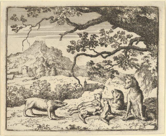 Renard Receives a New Citation from the Badger from Hendrick van Alcmar's Renard The Fox