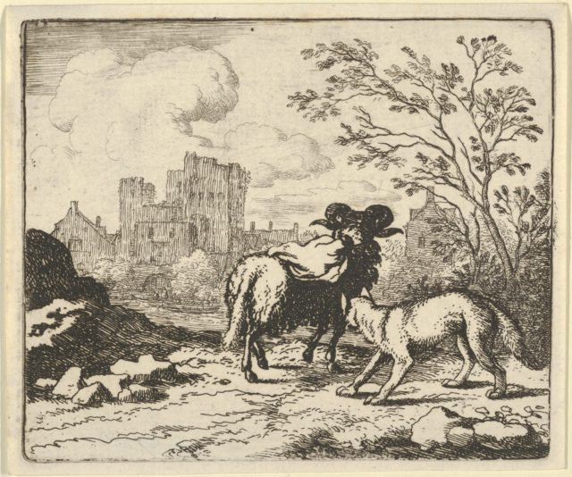 Renard Sends the Ram Back to the Lion with a Package Containing the Rabbit's Head from Hendrick van Alcmar's Renard The Fox