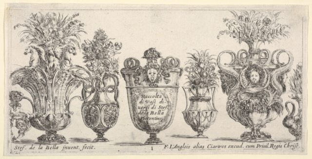 Seven vases, the vase in the middle decorated with the face of Medusa, Plate 1 from 'Collection of Various Vases' (Raccolta di Vasi Diversi)