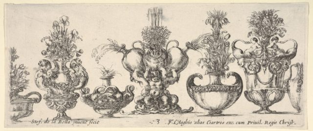Seven vases, the vase in the middle formed by three infants, each holding an ewer, Plate 3 from: 'Collection of Various Vases' (Raccolta di Vasi Diversi)