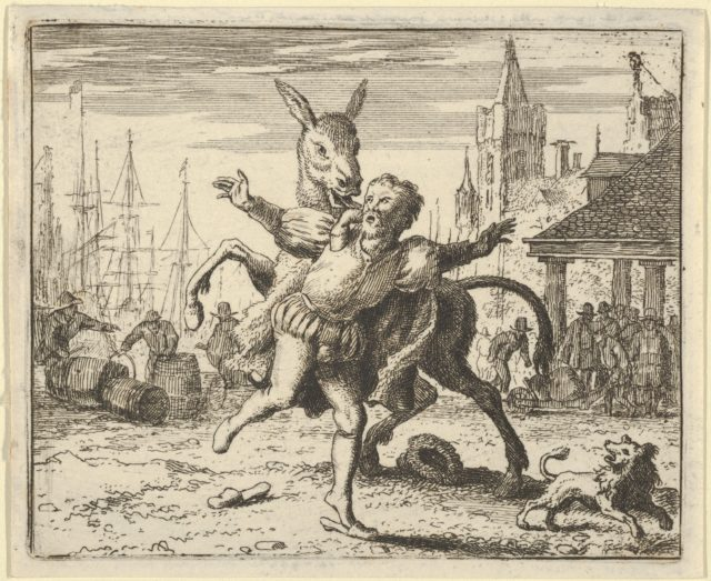 The Ass, Jealous of the Attention the Dog Is Getting From His Master, Looks to Imitate Him by Jumping at the Master's Neck from Hendrick van Alcmar's Renard The Fox