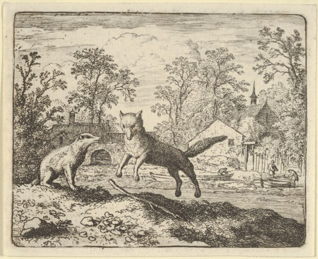The Badger Imposes as Punishment to Jump Three Times Over a Stick on the Ground from Hendrick van Alcmar's Renard The Fox