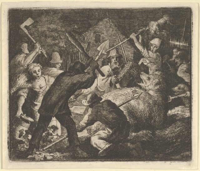 The Bear is Attacked by the Peasants from Hendrick van Alcmar's Renard The Fox